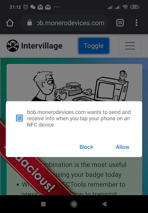 Screenshot of Android after accepting NFC permissions